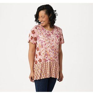 LOGO by Lori Goldstein Mixed Print Knit Top with S